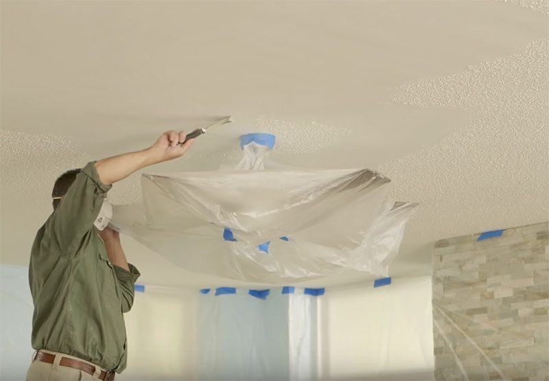 DIY how to remove popcorn ceiling texture for cork ceilig tiles