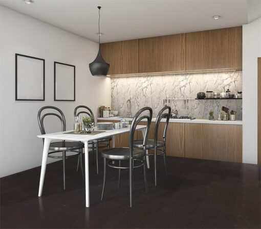 Jet-black forna black cork floor kitchen with loft furniture