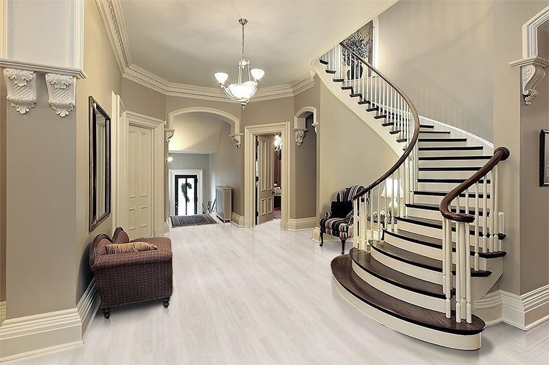 ash wood fusion cork floor foyer traditional home