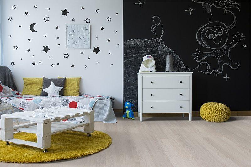 ash wood fusion cork flooring creative spacethemed childrens room blackboard wall