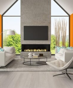 ash wood fusion cork flooring interior living room orange wall fireplace