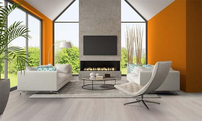 ash wood fusion cork flooring interior living room orange wall fireplace