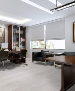 ash wood fusion cork flooring modern office interior rendering