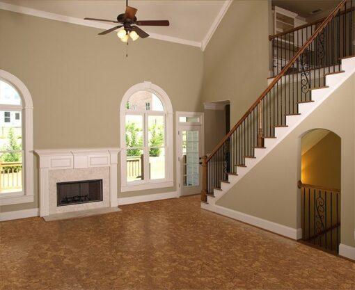 autumn ripple cork flooring narrow planks luxury model home living room fireplace