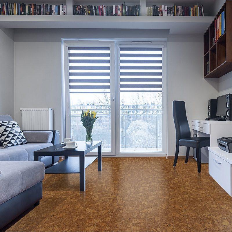 Autumn Ripple Beveled Edge Narrow Cork Flooring Grand Piano Residential Lounge