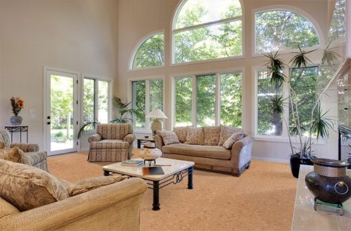 autumn leaves cork floor great room vaulted ceilings