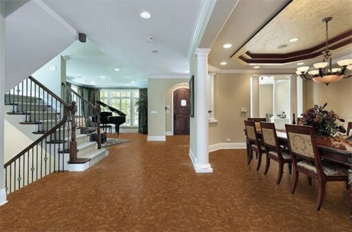 autumn ripple beveled cork floor foyer luxury home dining room view