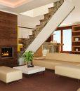 autumn ripple cork floor modern living room interior brown walls