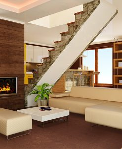 autumn ripple cork floor modern living room interior brown walls