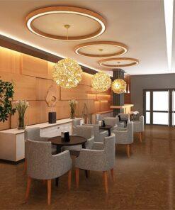 autumn ripple cork floor warm hotel lobby with wood wall