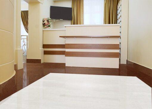 autumn ripple white leather cork floor dental clinic interior reception area