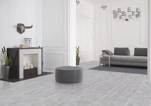 barn wood cork floor durable grey modern living room design in basement
