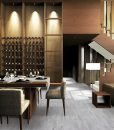 barn wood cork floor durable modern living room design gray color
