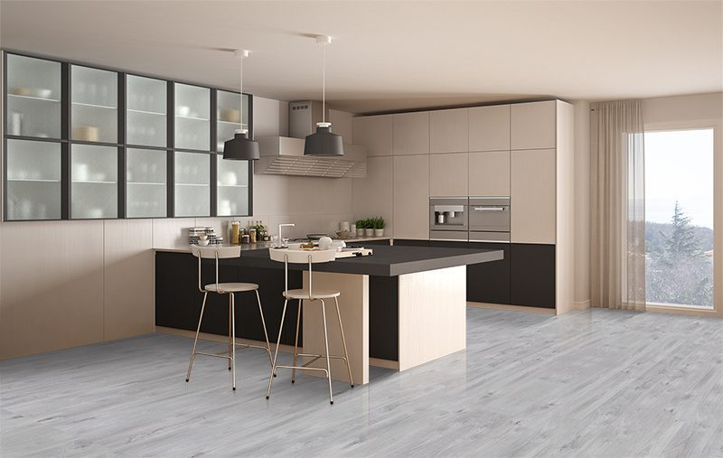 barn wood forna fusion cork floor classic minimal white gray kitchen