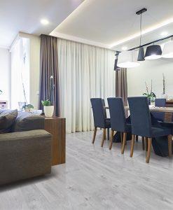 barn wood forna fution cork floor dining room interior modern apartment