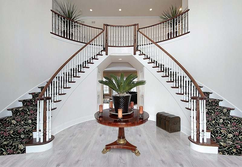 barn wood forna fution cork floor foyer luxury home