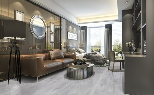barn wood fusion cork flooring luxury design living room and bedroom in modern building