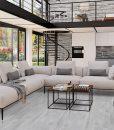 barn wood gray cork floors modern large windows living room interiors