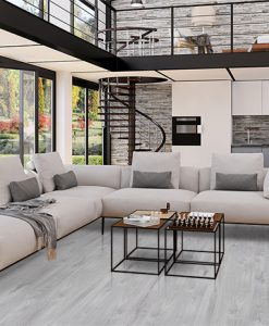 barn wood gray cork floors modern large windows living room interiors