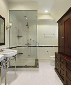 bleached birch cork floor master bath in luxury home with glass shower