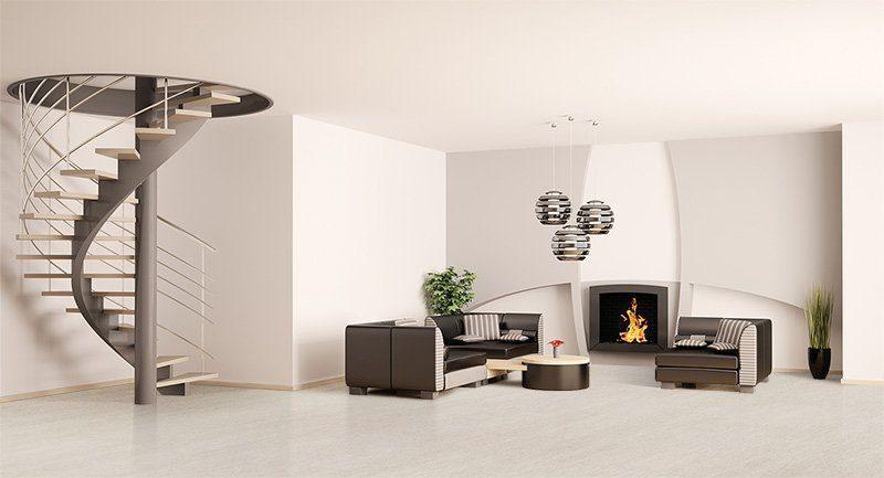 bleached birch cork floor modern living room interior spiral stair