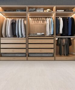 bleached birch cork floor modern scandinavian walk in closet with wardrobe
