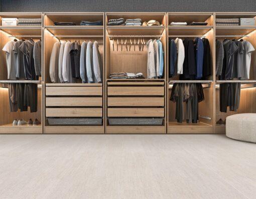bleached birch cork floor modern scandinavian walk in closet with wardrobe