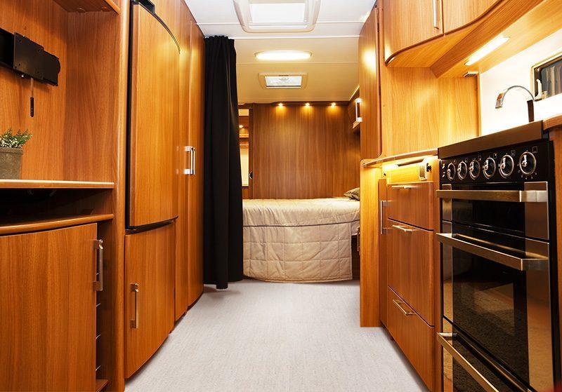 bleached birch cork flooring forna Inside of modern camper IV motor home
