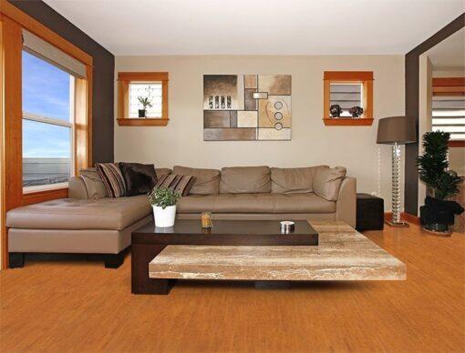 brown birch forna cork floor beautiful modern living room interior