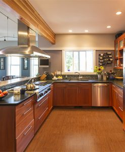 brown birch forna cork flooring floating spacious contemporary upscale home kitchen interior