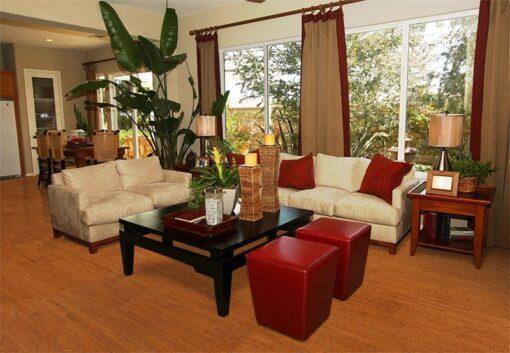 brown birch forna cork flooring modern living room warm tones