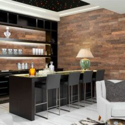 brown brick cork wall panels bar interior design sound insulation absorbing soundproofing noise reduction