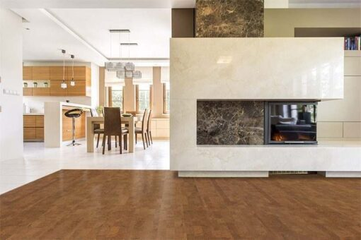 brown leather cork floor bright modern living room kitchen background.
