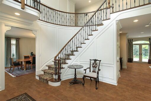 brown leather cork floor foyer luxury home