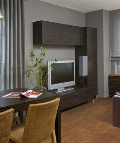 brown leather cork floor spacious living room gery wall