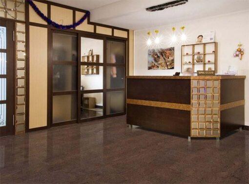 brown salami forna cork floor hotel interior lobby