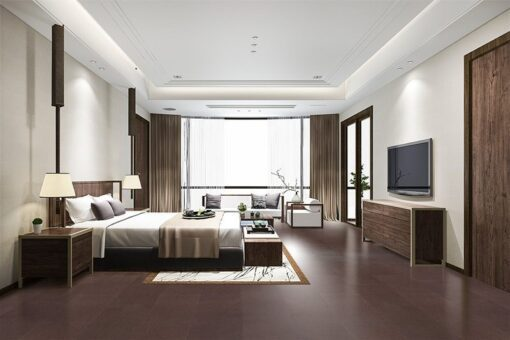 burnt sienna leather cork floating flooring luxury bed room