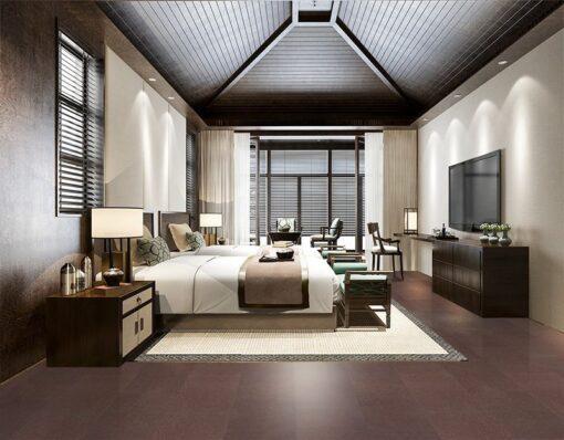 burnt sienna leather cork floating flooring sustainable living room design