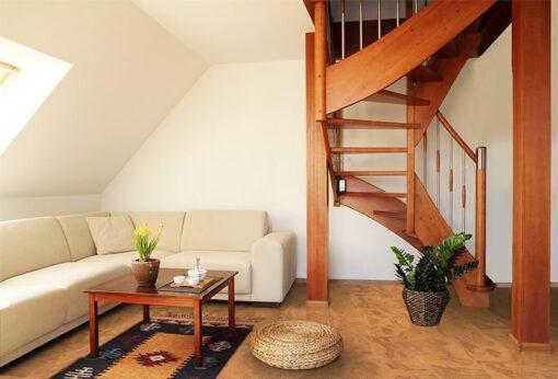 Massive cork caramel swirl cork flooring loft interior design