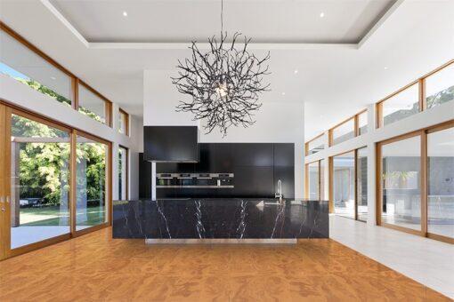 Massive cork caramel swirl cork floors amazing spacious kitchen living area