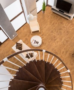 caramel swirl cork floors living room interior design above view