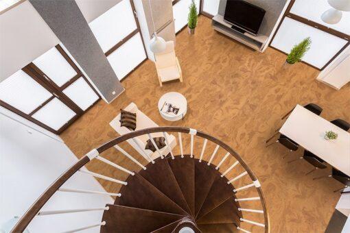 caramel swirl cork floors living room interior design above view