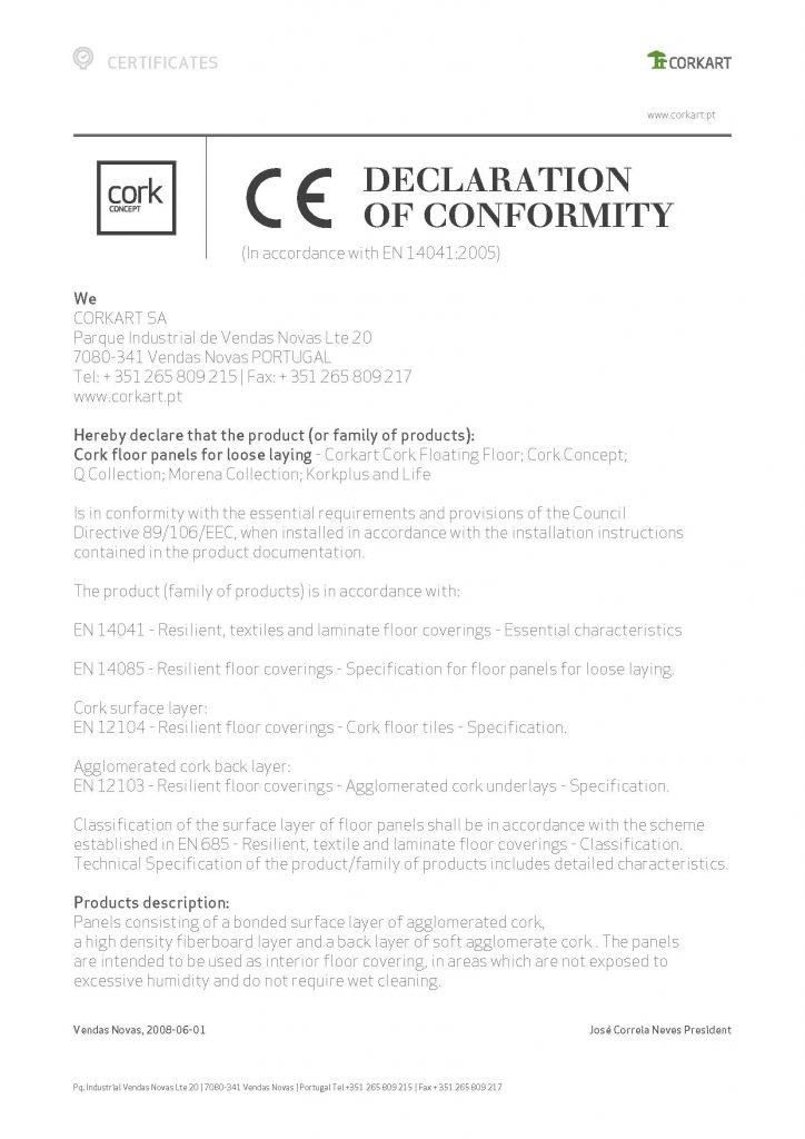 CE declaration of conformity cork flooring