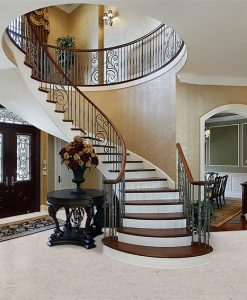 ceramic marble cork flooring foyer luxury home circular staircase