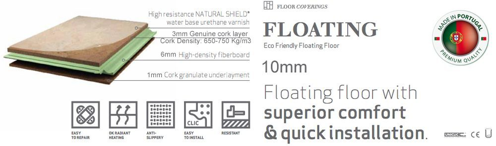 constructure 10mm floating cork flooring