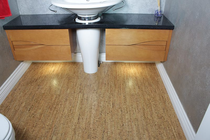 Cork Floor Silver Birch Modern Half Washroom