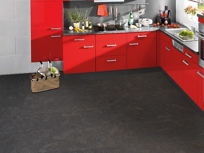 kitchen flooring with natural cork flooring material floating or tiles