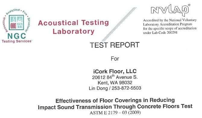cork underlayment acoustic soundproof testing report