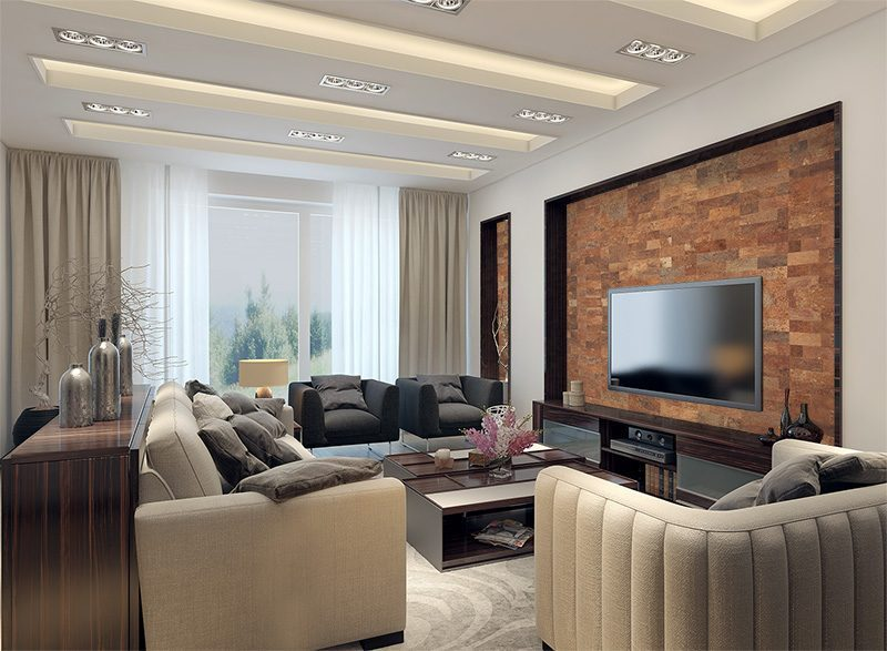 Cork Wall Panels Modern Living Room