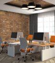 cork wall panels office interior 3d illustration